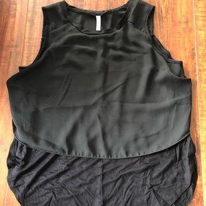 Tops - Black mixed material sleeveless shirt
